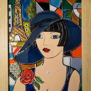Párizsi szerelem viharkékben. Dekorációs, színes üvegfestmény. Üvegre festett falikép., Művészet, Festmény, Festmény vegyes technika, Üvegművészet, Festészet, Kedves látogató, köszönöm, hogy benézett a boltomba !!!\nEzt az üvegfestményemet most karácsonyra kés..., Meska