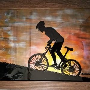 """- \""""Hegymenet\""""- Tavaszi \""""Kerék-PÁR-os\""""  biciklis képek ,- üvegfestmény., Művészet, Festmény, Festmény vegyes technika, Üvegművészet,  Kedves leendő vásárlóm, -köszönöm, hogy benézett hozzám. \n\nEzek a biciklis képek egy leendő bicikli..., Meska"""