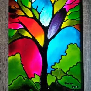 Életfa, szinkavalkád . Üvegre festett képek, üvegfestmény.2 féle technika., Festmény vegyes technika, Festmény, Művészet, Festészet, Üvegművészet, Kedves látogató, örülök, hogy benézett a boltomba !!! \nAz itt látott Színkavalkád című életfákat 2 k..., Meska