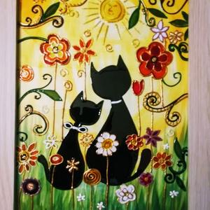 Csacska Macskák. - Karácsonyra festett üveg kép, üvegfestmény gyerekeknek., Művészet, Festmény, Festmény vegyes technika, Üvegművészet, Festészet, Kedves látogató, köszönöm, hogy benézett hozzám !!!!\nEzt a bájos Macskusz családot elsősorban gyerek..., Meska