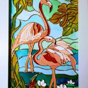 Flamingók. Színpompás üvegfestmény., Festmény vegyes technika, Festmény, Művészet, Festészet, Üvegművészet, Kedves látogató, köszötöm, hogy benézett a boltomba !!!!\nEzt a színpompás flamingós kép egy üde szín..., Meska