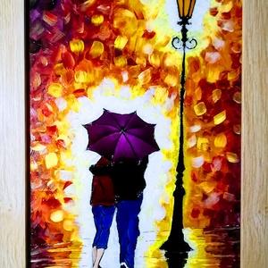 Romantika az esőben. - Ragyogás.- Séta az esőben.   Festett üveg faliképek, üvegfestmény. , Művészet, Festmény, Festmény vegyes technika, Festészet, Üvegművészet,  Kedves leendő vásárlóm!!!!!!!! Köszönöm, hogy benézett hozzám.\n\nEzeket a képeket egy specális üvegf..., Meska