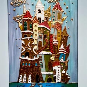 """Cifra palota. Mesés kép gyerekeknek. Dekorációs falikép, üvegfestmény., Művészet, Festmény, Festmény vegyes technika, Festészet, Üvegművészet, Kedves leendő vásárlóm. Köszöntöm, hogy benézett a virtuális boltomba !!!\nEzt a \"""" Cifra palota\"""" - cí..., Meska"""