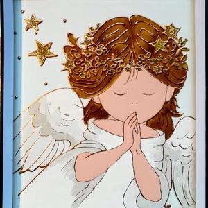 Imádkozó Angyalka. /Isten áldásával/. Festett üveg kép, üvegfestmény., Művészet, Festmény, Festmény vegyes technika, Üvegművészet, Kedves látogató. Köszöntöm, hogy benézett a boltomba !!!\nEzt a bályos angyalkás képet, aki éppen imá..., Meska