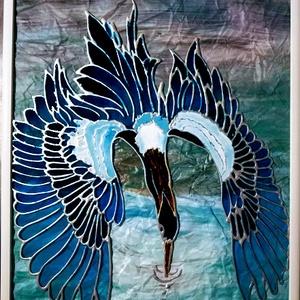 """Zuhanó repülés. \"""" Kék villanás\"""". - Kék madár. - Dekorációs festett üveg falikép, üvegfestmény., Művészet, Festmény, Festmény vegyes technika, Festészet, Üvegművészet, Kedves látogató. Köszöntöm, hogy benézett a boltomba !!!\nEzt a \"""" Kék villanás \"""" című képemet egy cso..., Meska"""