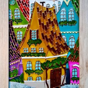 """Meseházikó. Festett üveg kép gyerekeknek. Színes, dekorációs üvegfestmény., Művészet, Festmény, Festmény vegyes technika, Üvegművészet, Festészet, Kedves látogató, köszönöm, hogy meglátogatta a boltomat !!!\n - Ezt a \"""" Mese házikó \"""" című képemet el..., Meska"""