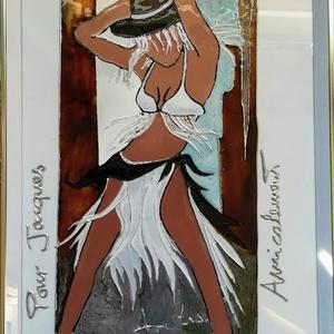"""Revü táncos. 22-szer 31 cm-es festett üveg falikép, üvegfestmény., Művészet, Festmény, Festmény vegyes technika, Festészet, Üvegművészet, Kedves látogató. Köszöntöm, hogy benézett a virtuális boltomba.\nEzt a \""""Revű táncos\"""" cimű képemet egy..., Meska"""