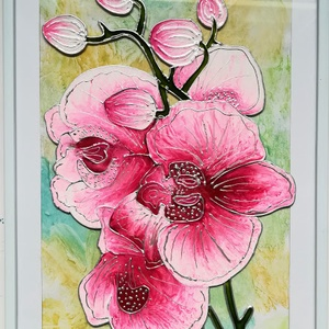 Orhideák - 3 féle színben./Virág ami garantáltan nem hervad el/.Virágos üvegfestmény.., Művészet, Festmény, Festmény vegyes technika, Festészet, Üvegművészet, Kedves látogató, köszöntöm, hogy benézett hozzám !!! \nEzek az orhideák olyan virágok,-  ami garantál..., Meska