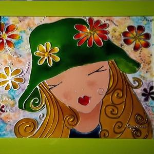 Tündér virág. /Tavasz tündér /. - Gyerekeknek festett romantikus kép Húsvétra, üvegfestmény., Művészet, Festmény, Festmény vegyes technika, Festészet, Üvegművészet, Kedves nézelődő. Köszöntöm, hogy benézett a virtuális boltomba !!!\nEz a kép egy bájos kis Tündér lán..., Meska