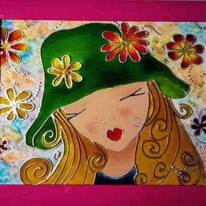 Tündér virág. /Tavasz tündér /. - Gyerekeknek festett romantikus falikép , üvegfestmény., Művészet, Festmény, Festmény vegyes technika, Festészet, Üvegművészet, Kedves nézelődő. Köszöntöm, hogy benézett a virtuális boltomba !!!\nEz a kép egy bájos kis Tündér lán..., Meska