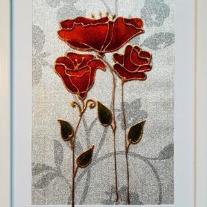 Stilizált virágok./ Virág ami garantáltan nem hervad el !/4 féle szín/.  Romantikus falikép, üvegfestmény., Otthon & Lakás, Dekoráció, Kép & Falikép, Festészet, Üvegművészet, Kedves látogató. Köszöntöm, hogy benézett a virtuális boltomba !!!\n Ezek az üvegre festett virágok, ..., Meska