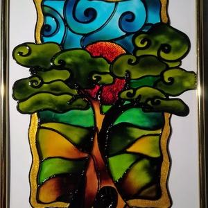 """Életfa 2021 tavasz. - \"""" Az élet kőrforgása\"""". Üvegfestmény, üvegre festett falikép, dekoráció., Művészet, Festmény, Festmény vegyes technika, Festészet, Üvegművészet, Kedves látogató. Köszöntöm hogy benézett hozzám !!!\nEz az \""""Életfás \"""" kép számomra az élet kőrforgásá..., Meska"""