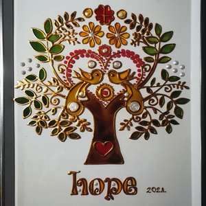 Szerelem fa. Szervető Élet-fa. / Hope 2021 tavasz/. Népies, magyaros, dekorációs falikép, üvegfestmény., Művészet, Festmény, Festmény vegyes technika, Festészet, Üvegművészet, Kedves látogató. Köszöntöm, hogy benézett a virtuális boltomba.\nEzt az Életfát már 2021- es év tavas..., Meska