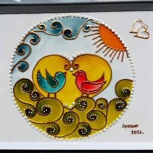 Madárkák /Húsvétra/. Dekorációs üvegfestmény, üvegre festett falikép., Művészet, Festmény, Festmény vegyes technika, Festészet, Üvegművészet, Kedves látogató, köszöntöm az oldalamon.\nEz egy saját tervezésű kis madárkás kép, amit már a tavaszr..., Meska