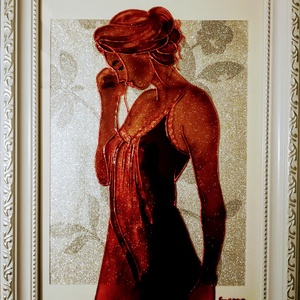 Ébredés 2021./romantikus, vintage stilus /Szexi csokoládé/.Festett üveg falikép, üvegfestmény., Művészet, Festmény, Festmény vegyes technika, Festészet, Üvegművészet, Kedves látogató. Köszöntöm, hogy benézett a virtuális boltomba !!!\n - Ezt a képet már a 2021-es évre..., Meska