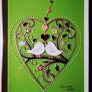 Tavaszi szerelem. Húsvéti madárkás kép. Madár Húsvétra. Népies, magyaros, dekorációs üvegfestmény Húsvétra., Otthon & Lakás, Dekoráció, Festészet, Üvegművészet, Kedves látogató.- Köszöntöm az oldalamon.\nEz a kép egy saját tervezésű madárkás kép Húsvétra, épp mo..., Meska