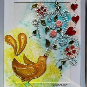 Fülemüle éneke. Tavaszi madárás dekorációs falikép. Népies, magyaros, hagyományőrző üvegfestmény., Otthon & Lakás, Dekoráció, Kép & Falikép, Festészet, Üvegművészet, Kedves látogató, köszönöm, hogy benézett a virtuális boltomba.\nEz a madárkás kép egy üvegfestmény. É..., Meska