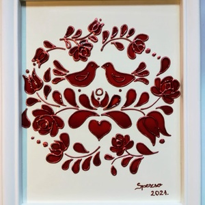 """Kalocsai madaras kép Húsvétra. - Madár - Magyaros, népies, hagyományőrző. Dekorációs falikép üvegfestmény., Otthon & Lakás, Dekoráció, Kép & Falikép, Festészet, Üvegművészet, Kedves nézelődő, köszöntöm a virtuális boltomba.\nEnnek a - \""""Kalocsai madárkás\"""" - képnek az elkészíté..., Meska"""