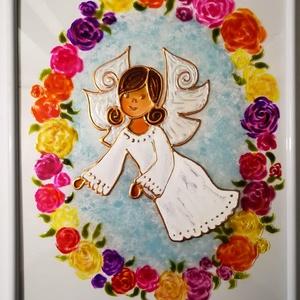 Angyalka virág koszorúban. Romantikus, rózsás, dekorációs falikép, üvegfestmény. Gyereknapra, Otthon & Lakás, Dekoráció, Kép & Falikép, Festészet, Üvegművészet, Kedves látogató, köszöntöm az oldalamon.\n\nEzt a kis rózsás, romantikus Angyalkás képet, most már hús..., Meska