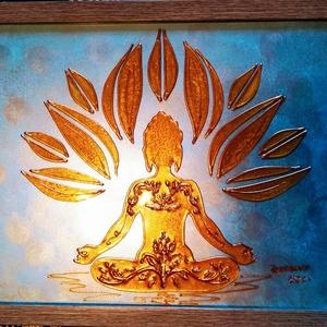 Arany Buddha, meditációhoz mandala formában. Dekorációs falikép, üvegfestmény., Otthon & Lakás, Spiritualitás & Vallás, Festészet, Üvegművészet, Kedves látogató, köszöntöm a virtuális boltomban.\nEz a kép egy meditáló Arany Buddha szobrot ábrázol..., Meska