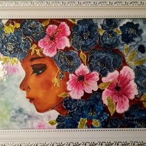 Virágos női portré. Vintage stilusú, romantikus üvegfestmény. Dekorációs falikép., Művészet, Festmény, Festmény vegyes technika, Festészet, Üvegművészet, Kedves látogató, köszöntöm a virtuális boltomban.\nMostanában egyre divatosabb a régies, vintage stil..., Meska