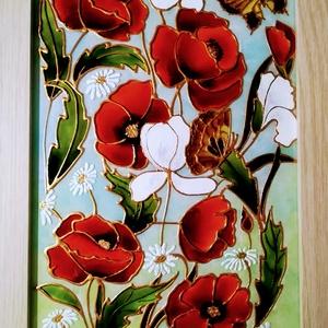 Pipacsok, több változatban.-  Virág ami garantáltan soha nem hervad el. - #Pipacs-os dekorációs üvegfestmény., Festmény vegyes technika, Festmény, Művészet, Üvegművészet, Festészet, Kedves leendő vásárlom!   Köszöntöm, hogy benézett a virtuális boltomba !!!\nEzek a #pipacsos képek -..., Meska