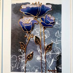 Anyáknapjára stilizált virág személyre szóló felirattal is. Dekorációs falikép, üvegfestmény. , Otthon & Lakás, Dekoráció, Kép & Falikép, Festészet, Üvegművészet, Kedves látogató, köszöntelek a boltomban.\nEzt a kis virágos képet anyáknapjára készítettem anyáknapi..., Meska