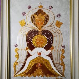 Angyali védelem.A boldog asszony védelmében.Mária az ég királynője a kis Jézussal. Spirituális, dekorációs üvegfestmény. - Meska.hu