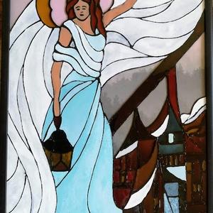 Védelmező, őrző angyal /Angyalkás kép/ Romantikus, dekorációs üvegfestmény., Otthon & Lakás, Spiritualitás & Vallás, Festészet, Üvegművészet, Kedves látogató, - szeretettel köszöntöm, - hogy benézett a boltomba !!!!\nEz az Angyalos kép, - egy ..., Meska