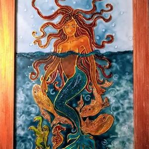 Sellő aranyhalakkal. Dekorációs falikép, üvegfestmény gyerekeknek., Művészet, Festmény, Festmény vegyes technika, Festészet, Üvegművészet, Kedves látogató, köszöntöm a virtuális boltomban.\nEz a Sellős kép éppen most készült, már a gyerek n..., Meska