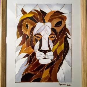 Oroszlán Király. Dekorációs falikép, absztrakt üvegfestmény gyerekeknek., Művészet, Festmény, Festmény vegyes technika, Festészet, Üvegművészet, Kedves nézelődő, köszöntöm a virtuális boltomban.\nEz az Oroszlán Király című képem éppen most készül..., Meska