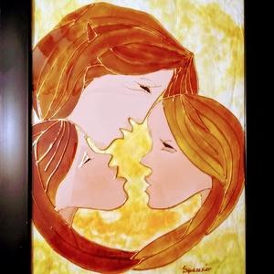 Csevegők. Három a kislány. Dekorációs falikép, modern üvegfestmény., Művészet, Festmény, Festmény vegyes technika, Festészet, Üvegművészet, Kedves nézelődő. Köszöntöm a virtuális boltomban.\nEz a Csevegők című képem egy Édesanyát ábrázol a l..., Meska