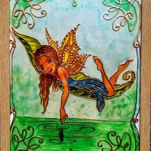 """Vizi tündér. Dekorációs falikép, üvegfestmény gyerekeknek., Művészet, Festmény, Festmény vegyes technika, Festészet, Üvegművészet, Kedves látogató. Köszöntöm a virtuális boltomban.\nEzt a \""""Vizi tündér\""""  című kedves kis képet gyerekn..., Meska"""