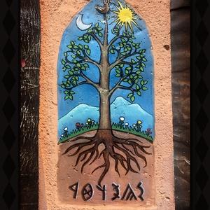Régi cserépre festett életfa, Otthon & lakás, Dekoráció, Képzőművészet, Festmény, Dísz, Festészet, Festett tárgyak, Régi cserépre festett életfa. A környezettudatosság fontos az alkotásban, így alapanyagom újra felha..., Meska