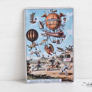 Vintage képeslap - Hőlégballon 2. (SteamPlum) - Meska.hu
