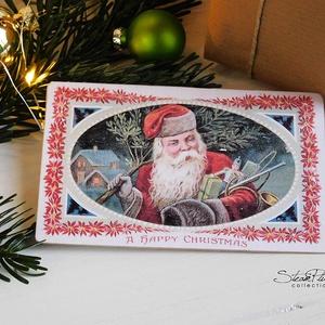 Vintage Karácsony - Mikulás képeslap 4., Otthon & lakás, Dekoráció, Ünnepi dekoráció, Karácsony, Ajándékkísérő, Naptár, képeslap, album, Képeslap, levélpapír, Könyvkötés, Fotó, grafika, rajz, illusztráció, Valódi, kézzel készült vintage képeslap, mely akár postán is feladható! \nVagy igazi hangulatos essze..., Meska