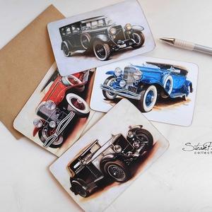 4 darabos Vintage képeslap kollekció - Oldtimer autók 1., Naptár, képeslap, album, Otthon, lakberendezés, Férfiaknak, Képeslap, levélpapír, Könyvkötés, Fotó, grafika, rajz, illusztráció, Ha nem tudsz választani, inkább menj biztosra és vidd mind a négy szépséget! :)  Így csoportosan mé..., Meska