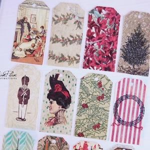 Vintage Karácsony - ajándékkísérő kártya 1., Karácsonyi, adventi apróságok, Ünnepi dekoráció, Dekoráció, Otthon & lakás, Ajándékkísérő, Naptár, képeslap, album, Ajándékkísérő, Mindenmás, Könyvkötés, 12 db-os, elegáns, 220 grammos dekorpapírra nyomott, igazi vintage hangulatú ajándékkísérők, melyek ..., Meska