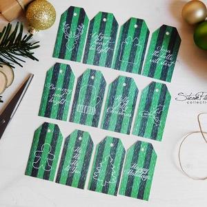 Vintage Karácsony - ajándékkísérő kártya 3., Karácsonyi, adventi apróságok, Ünnepi dekoráció, Dekoráció, Otthon & lakás, Ajándékkísérő, Naptár, képeslap, album, Ajándékkísérő, Mindenmás, Könyvkötés, 12 db-os, elegáns, 250 grammos  dekorpapírra nyomott, igazi vintage hangulatú ajándékkísérők, melyek..., Meska