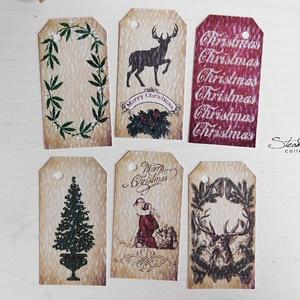 Vintage Karácsony - ajándékkísérő kártya 5., Karácsony, Ünnepi dekoráció, Dekoráció, Otthon & lakás, Ajándékkísérő, Naptár, képeslap, album, Ajándékkísérő, Mindenmás, Könyvkötés, 12 db-os, elegáns, 250 grammos  dekorpapírra nyomott, igazi vintage hangulatú ajándékkísérők, melyek..., Meska