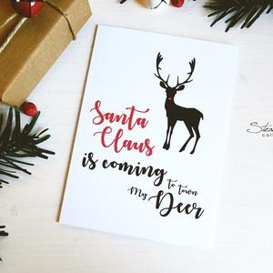 My Deer - Rénszarvasos karácsonyi képeslap 4., Dekoráció, Otthon & lakás, Ünnepi dekoráció, Karácsony, Ajándékkísérő, Naptár, képeslap, album, Képeslap, levélpapír, Fotó, grafika, rajz, illusztráció, Könyvkötés, Most Rudolf, a legmenőbb piros orrú rénszarvas viheti az ünnepi üzeneteket, a szívednek legkedvesebb..., Meska