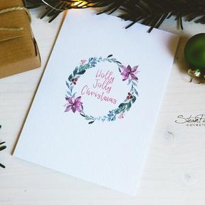 Téli természet - karácsonyi koszorú képeslap 3., Dekoráció, Karácsonyi, adventi apróságok, Naptár, képeslap, album, Ünnepi dekoráció, Ajándékkísérő, képeslap, Képeslap, levélpapír, Fotó, grafika, rajz, illusztráció, Könyvkötés,