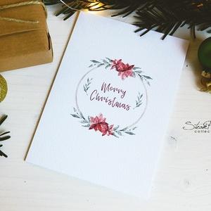 Téli természet - karácsonyi koszorú képeslap 5. (SteamPlum) - Meska.hu