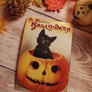 Vintage képeslap - Halloween 6., Otthon & lakás, Dekoráció, Naptár, képeslap, album, Képeslap, levélpapír, Lakberendezés, Könyvkötés, Fotó, grafika, rajz, illusztráció, Valódi, kézzel készült vintage képeslap, mely akár postán is feladható! \nVagy igazi hangulatos essze..., Meska