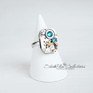 Miss Elza Withlock - gyűrű swarovski kövekkel díszítve, Ékszer, Gyűrű, Statement gyűrű, Régi idők női karóra belsői lényegültek át az egyik legkedvesebb ékszerünké. Meglátod, ha felveszed,..., Meska