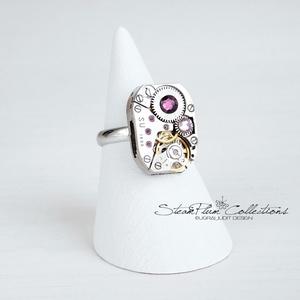 Miss Libby Withlock - gyűrű swarovski kövekkel díszítve, Ékszer, Gyűrű, Statement gyűrű, Régi idők női karóra belsői lényegültek át az egyik legkedvesebb ékszerünké. Meglátod, ha felveszed,..., Meska