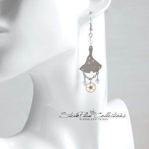 Lady Sophia H. Moodie - fülbevaló, Ékszer, Fülbevaló, Lógós fülbevaló, Férfi karórák belső részéből született előkelő páros darabjai, apró áttetsző swarovski kristályokkal..., Meska
