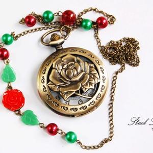 Rózsakert nyaklánc óra, Zárható titok nyaklánc, Nyaklánc, Ékszer, Ékszerkészítés, A piros rózsás rózsakert egy időtlen klasszikus. Ez az ékszer azonban az időt is mutatja, így minden..., Meska