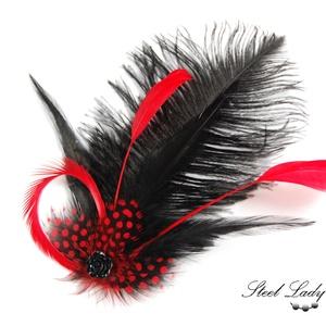 Dark Princess - fekete-piros toll hajdísz, Ékszer, Táska, Divat & Szépség, Ruha, divat, Hajbavaló, Hajcsat, Ékszerkészítés, Fekete és piros... igazi klasszikus. Ennek fényében számos, különféle formájú tollat válogattam össz..., Meska