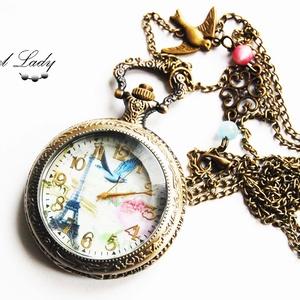 A romantikus Párizs - nyaklánc óra Eiffel toronnyal, rózsákkal és madarakal, Nyaklánc óra, Karóra és Ékszeróra, Ékszer, Ékszerkészítés, Eiffel-torony, rózsa, madarak... mi mással lehetne még fokozni ennek a gyönyörű órának a romantikus ..., Meska